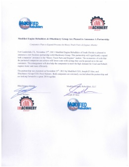 Official letter about partnership with Modified Engine Rebuilders, USA